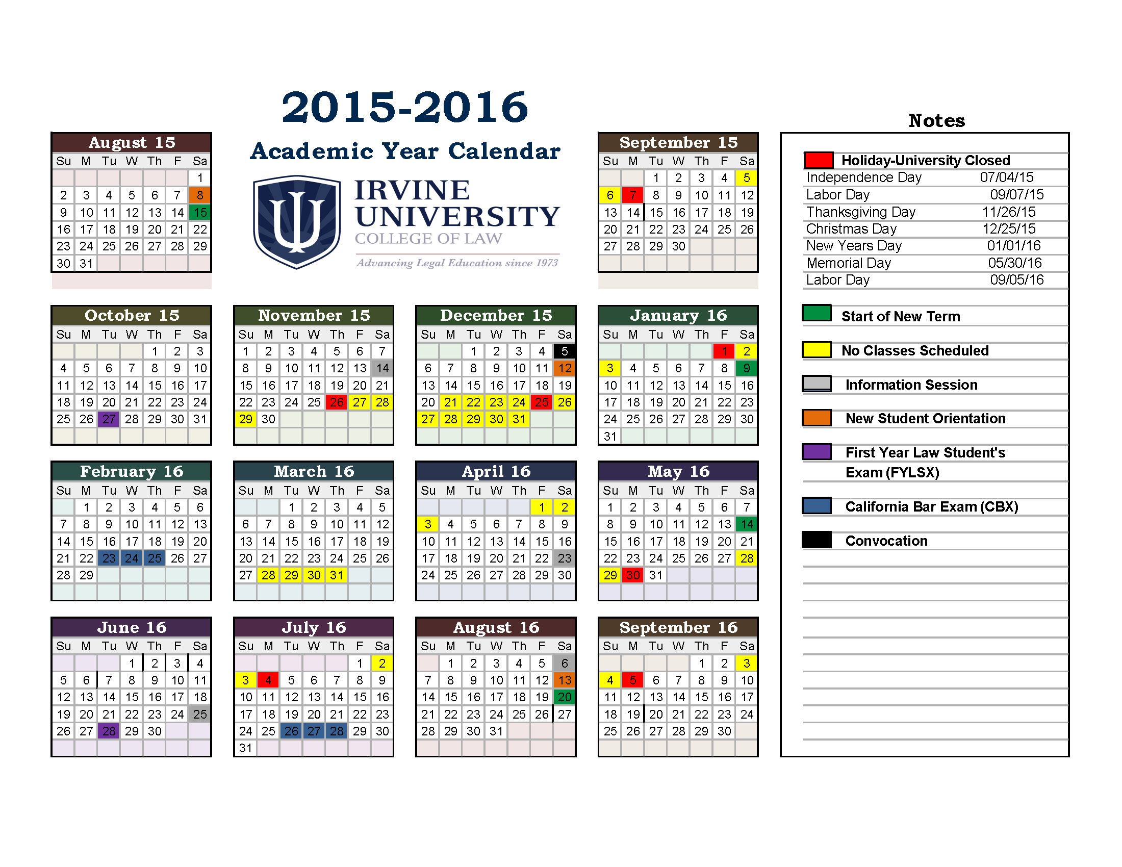 Irvine University Academic Calendar For Irvine College Of Law