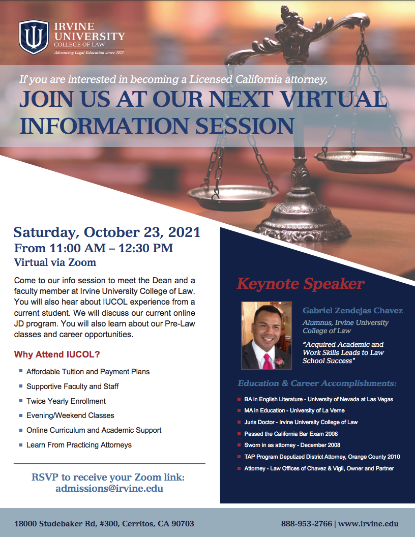 Information Session, Saturday, October 23rd, 2021 at 11:00am